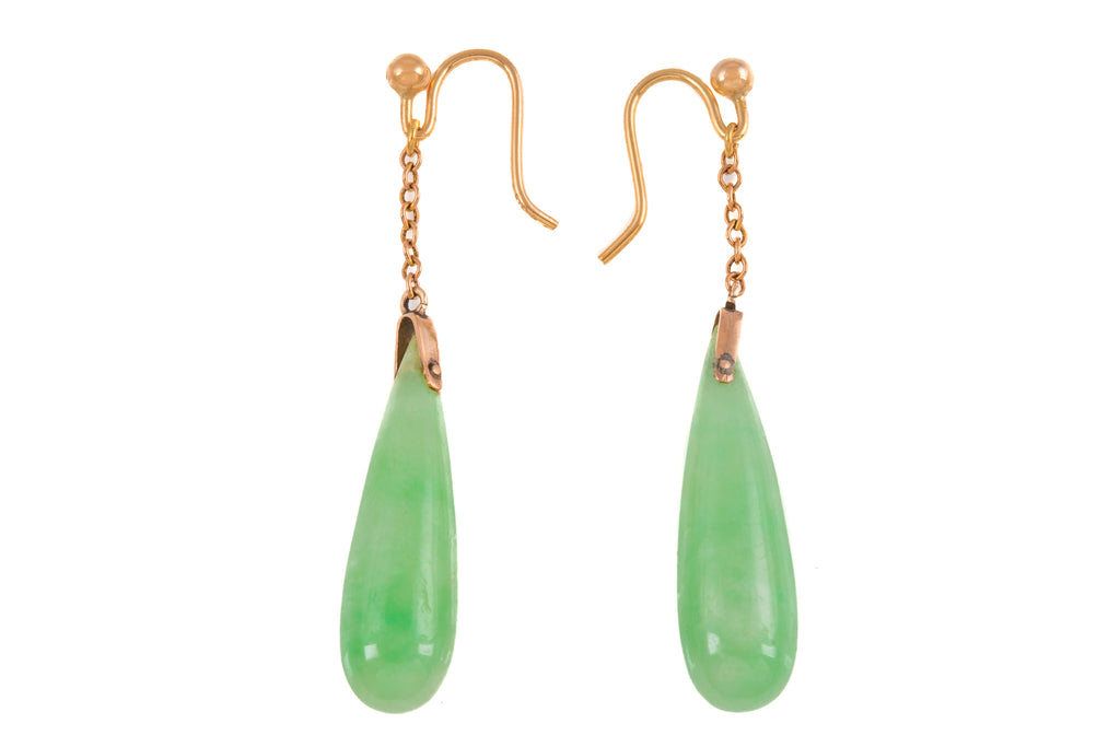 Art Deco Gold Jade Drop Earrings, with 9ct Gold Hooks