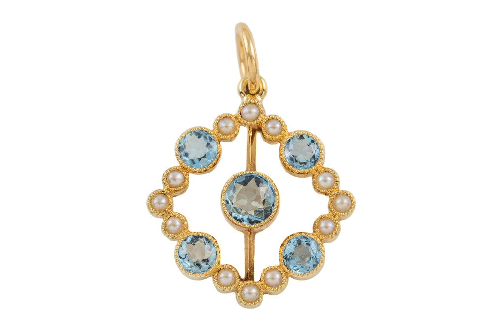 Edwardian 15ct Gold Pearl Aquamarine Pendant, (0.42ct)