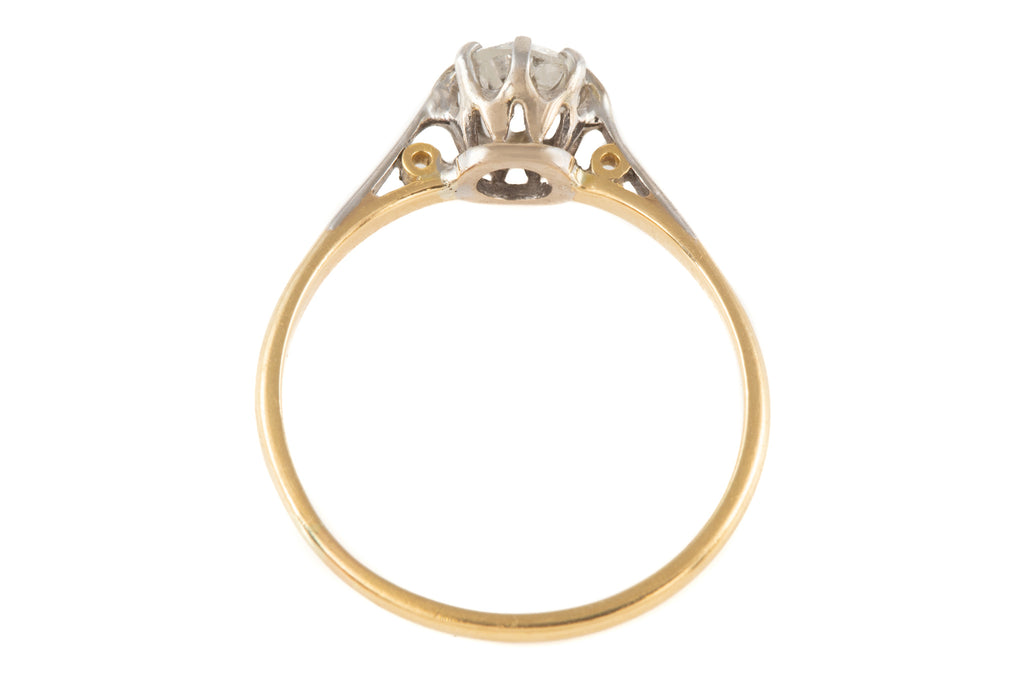 Art Deco 18ct Gold Diamond Solitaire Ring (0.50ct)