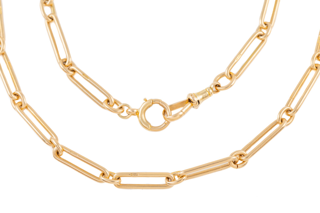 "Art Deco Trombone Link 14ct Gold Chain, 18"" (31.3g)"