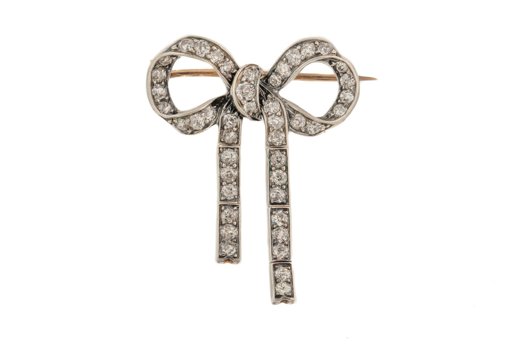 Antique Silver Diamond Bow Brooch, (0.90ct)