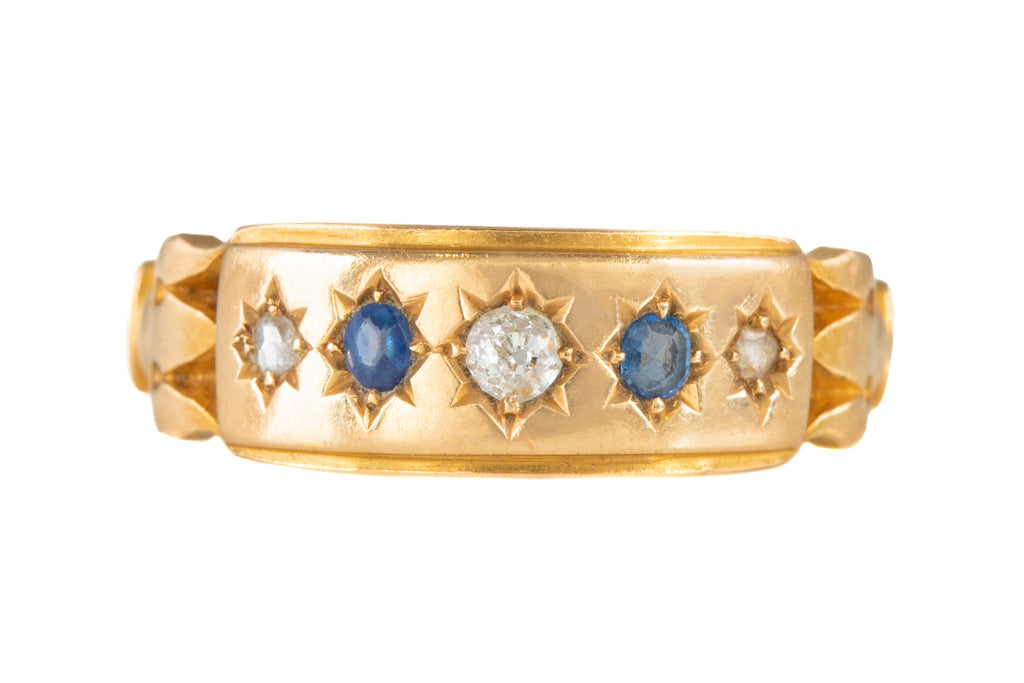 Antique 18ct Gold Diamond Sapphire Gypsy Ring, c.1887