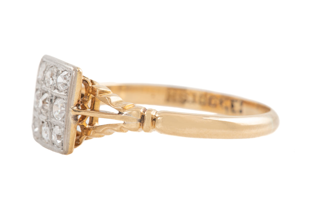Art Deco 18ct Gold Diamond Cluster Ring (0.23ct)