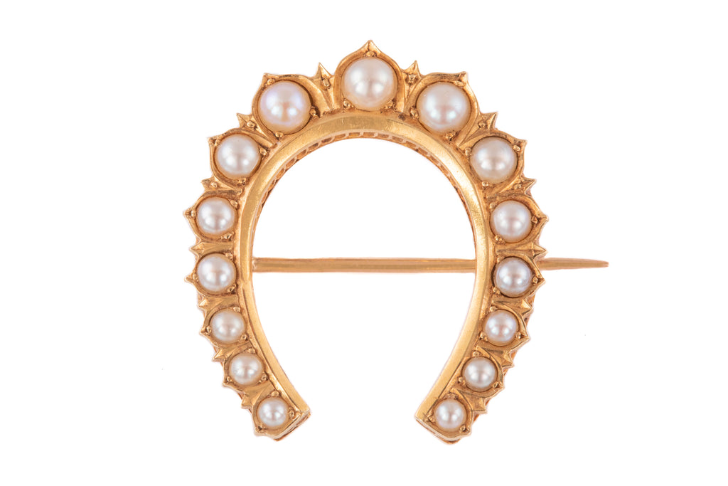 Victorian 15ct Gold Pearl Ornate Horseshoe Brooch