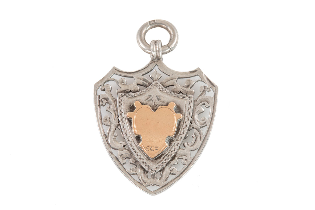 Edwardian Silver Gold Heavy Shield Fob Pendant (13.3g)