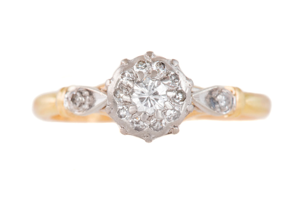 Antique 18ct Gold Diamond Cluster Ring (0.15ct)