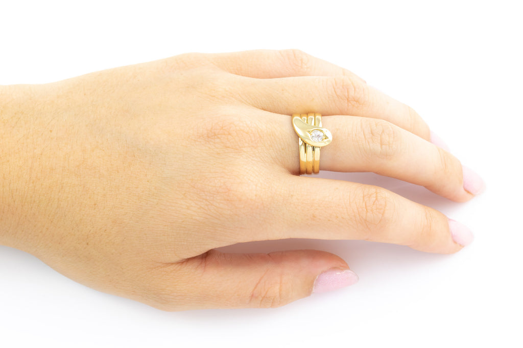 Antique 18ct Gold Snake Ring (0.25ct)