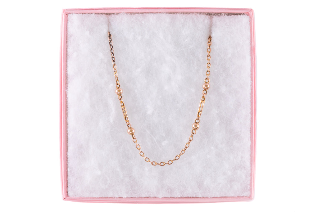 "Victorian Rose Gold Ball Paperclip Link Chain, 17"" (5.7g)"