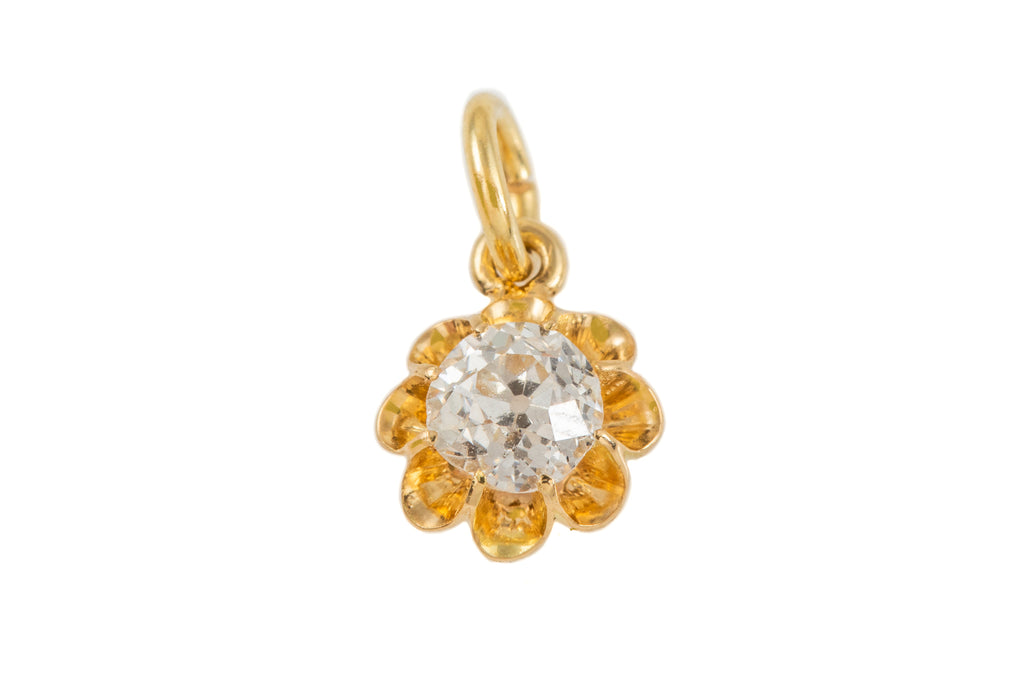 Rare Victorian 18ct Gold Diamond Pendant, (0.40ct)