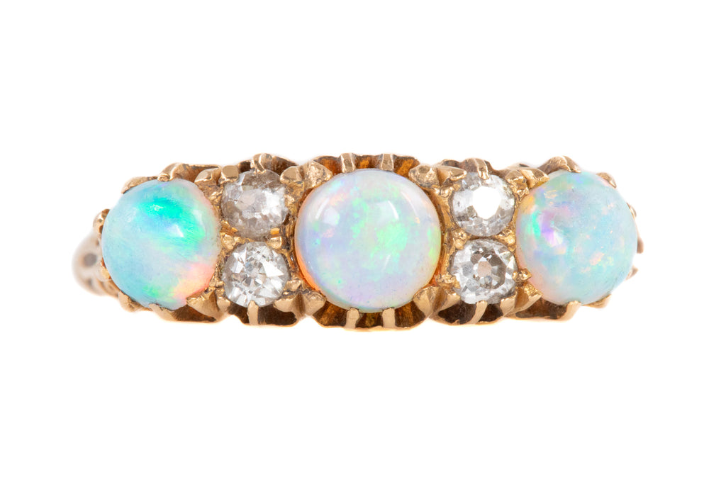 Victorian 18ct Gold Opal Diamond Ring, c.1892 (0.75ct)