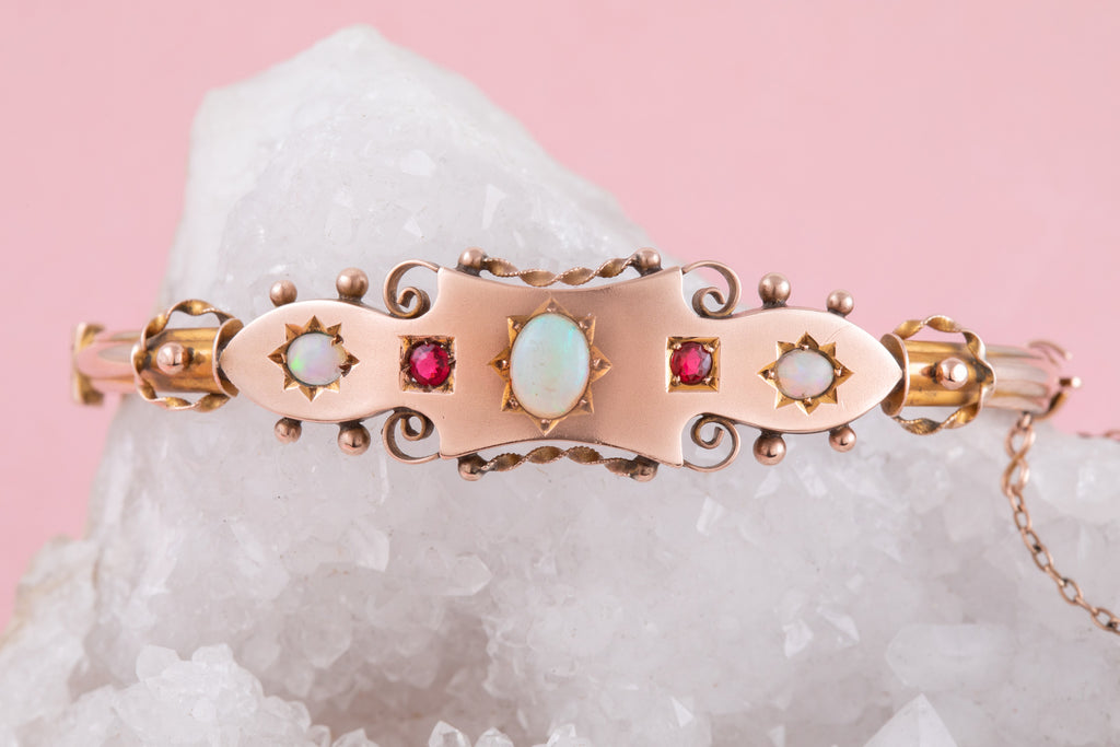 Antique Rose Gold Opal Ruby Bangle, 1903 (0.58ct)