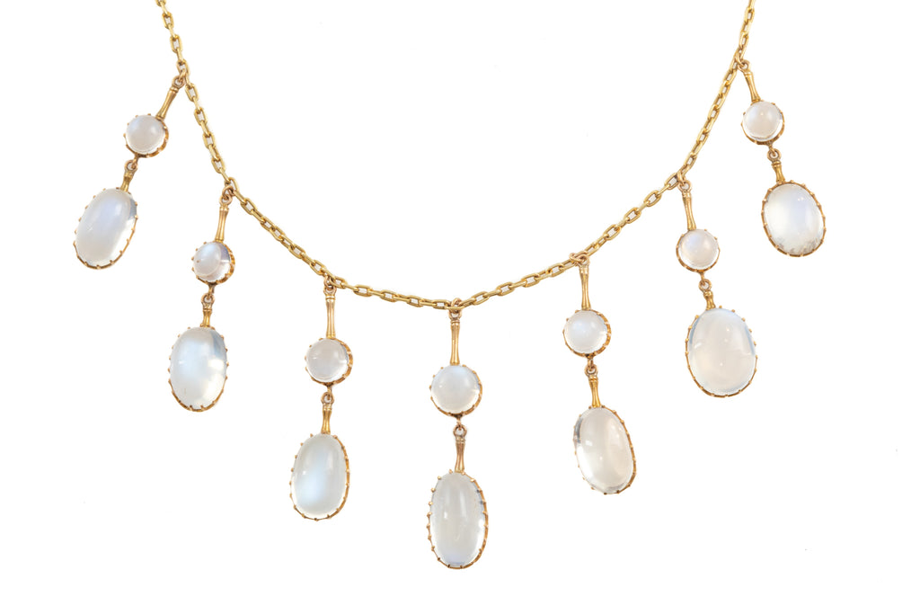 Antique 15ct Gold Moonstone Necklace (21.20ct), 15""