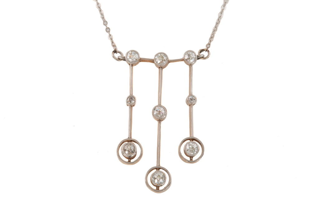 Art Deco 14ct Gold Diamond Drop Necklace, (0.95ct)