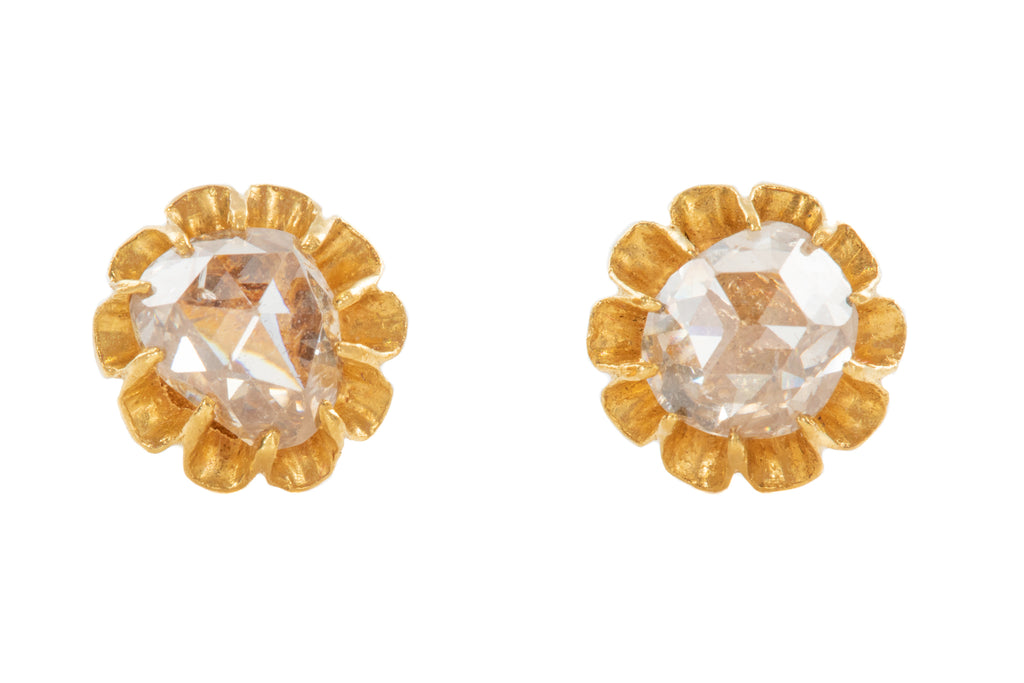 Victorian 18ct Gold Rose Cut Diamond Stud Earrings, (1.20ct)
