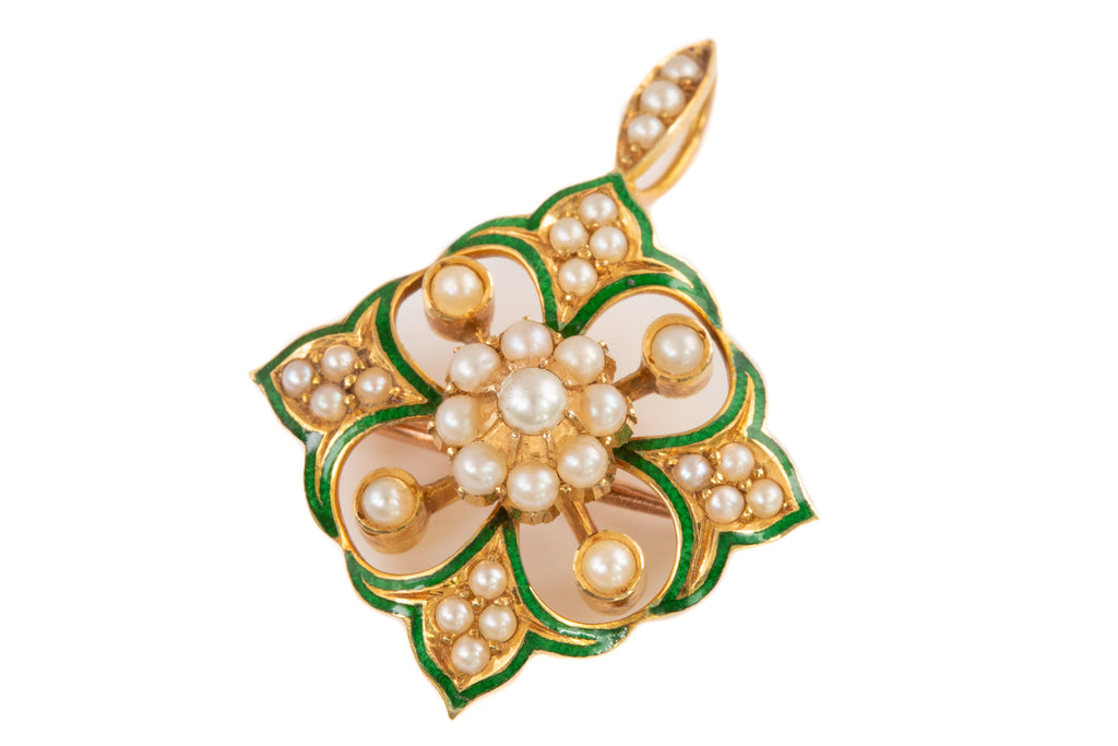 Antique 15ct Gold Pearl Enamel Pendant Brooch