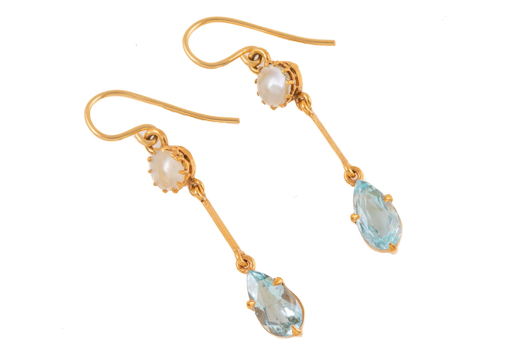 Edwardian 18ct Gold Aquamarine Mother of Pearl Earrings, (1.32ct)