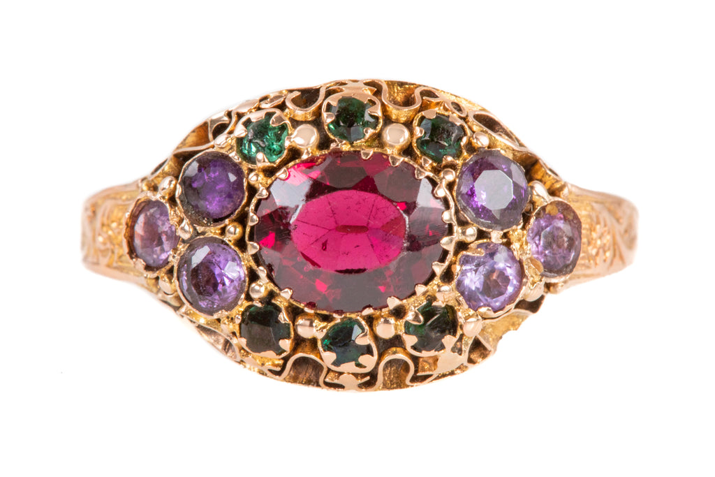 Early Victorian 15ct Gold Multi Gemstone Ring, c.1848