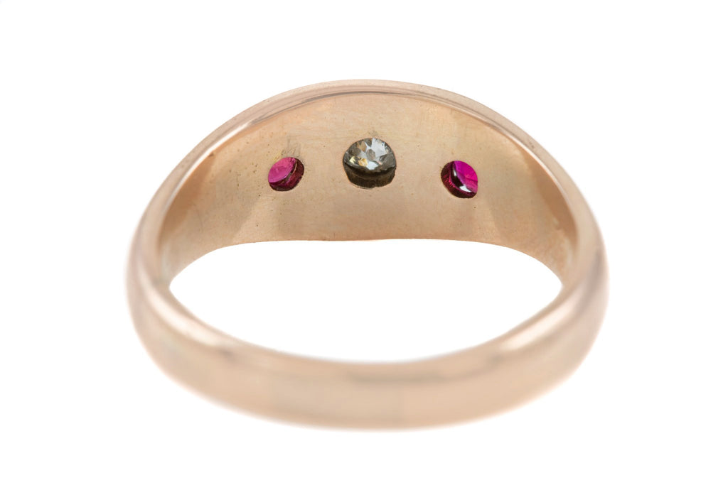 Victorian 15ct Gold Diamond Ruby Gypsy Ring