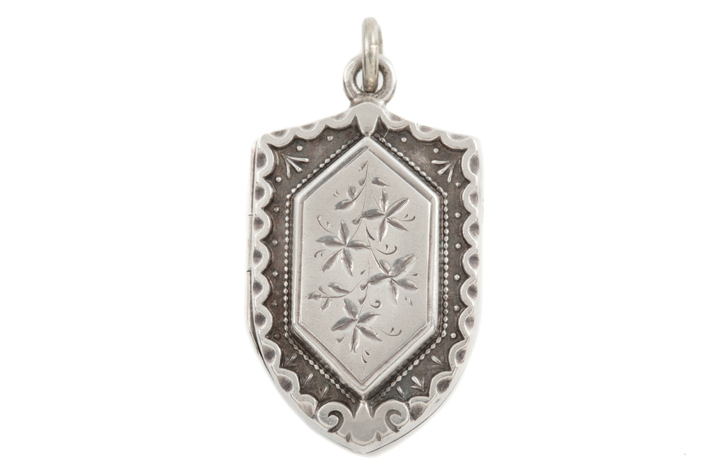 Victorian Aesthetic Silver Shield Locket c.1883
