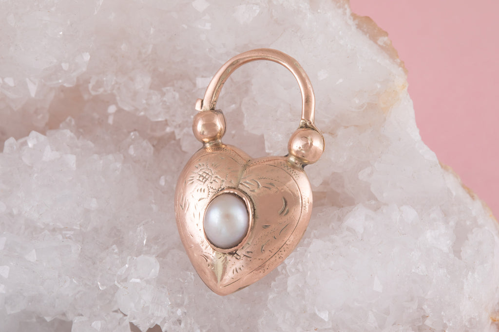 Antique Gold Pearl Heart Padlock Pendant