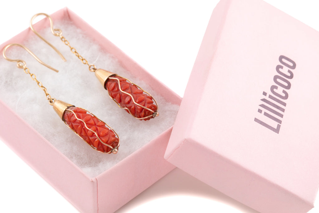 Victorian Gold Carved Coral Drop Earrings