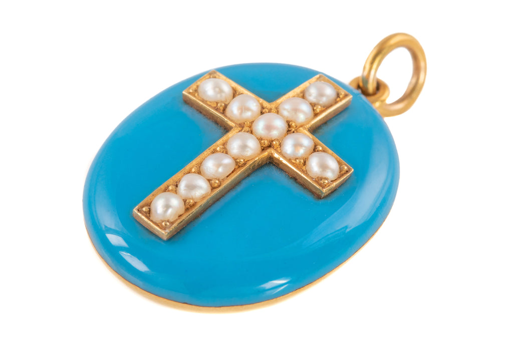 Victorian 15ct Gold Enamel Pearl Cross Mourning Locket