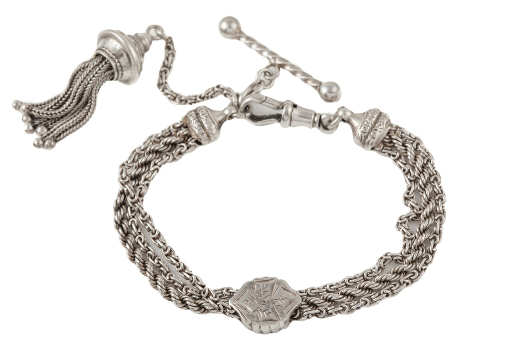 "Victorian Silver Albertina Bracelet with Tassel and T-bar Charm, 7 & 1/4"" (20g)"