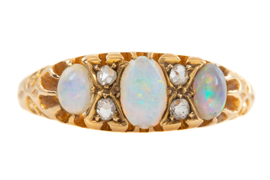 Art Deco 18ct Gold Opal Diamond Ring (0.50ct) c.1920