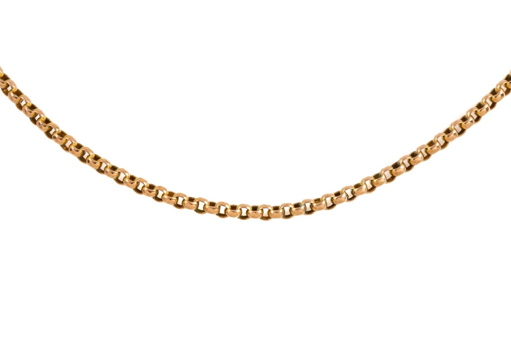 "Antique Gold Faceted Belcher Chain with Rare Double Dog Clip, 43"" (20.6g)"