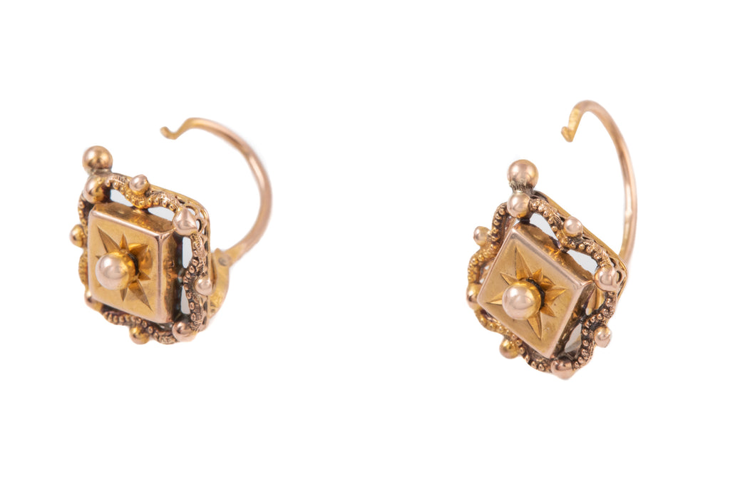 French Antique 18ct Gold Lever Back Earrings