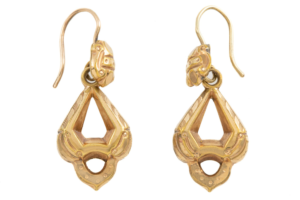 Victorian Gold Cased Drop Earrings with 9ct Gold Hooks