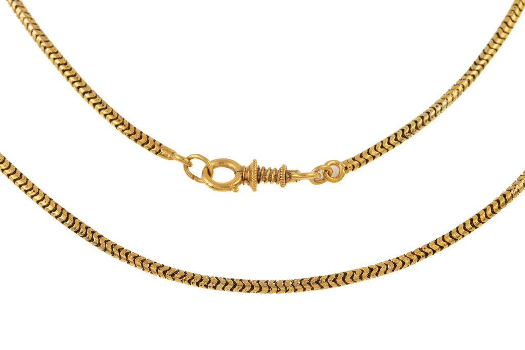 "Victorian 18ct Gold Snake Chain with Rare Sprung Clasp, 16"" (6.5g)"