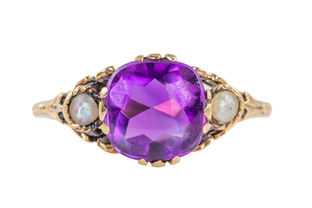 Antique 14ct Gold Amethyst Pearl Ring (0.90ct)