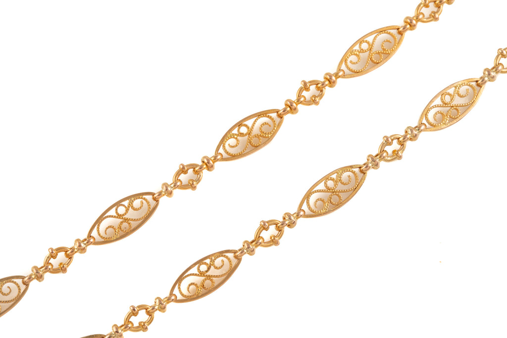 "Antique French 18ct Gold Fancy Lozenge Chain, 20"" (17.9g)"