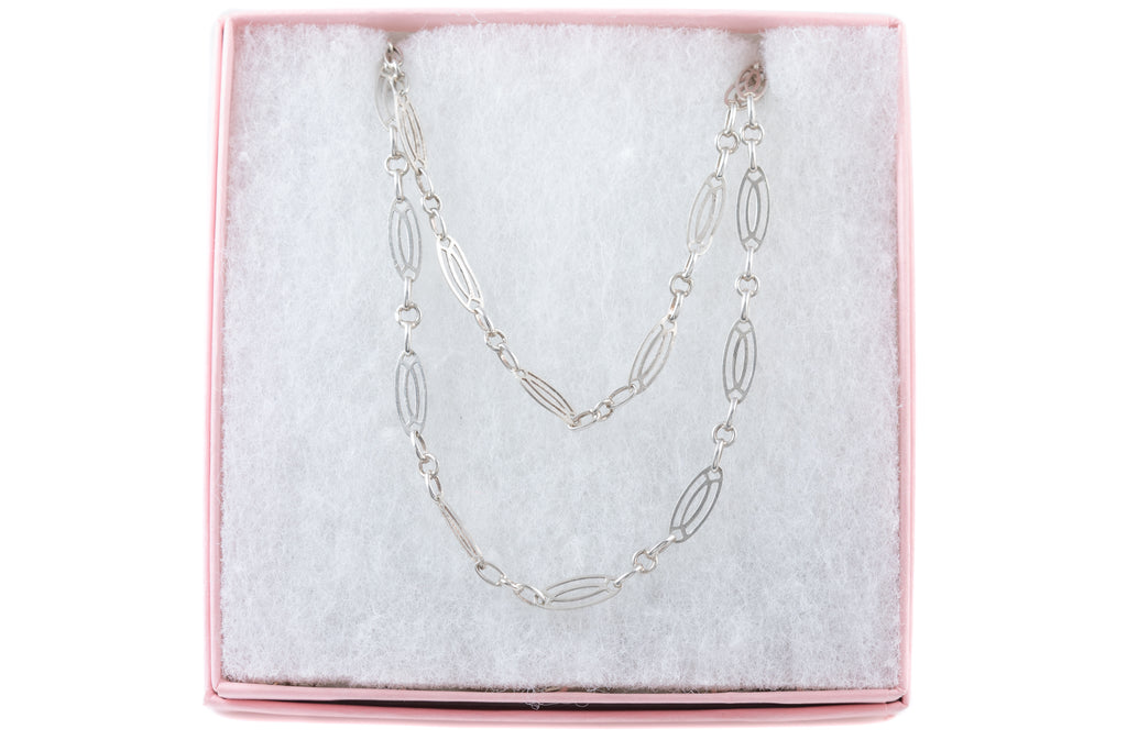 "Antique French Silver Fancy Long Guard Chain, 55"" (14.8g)"