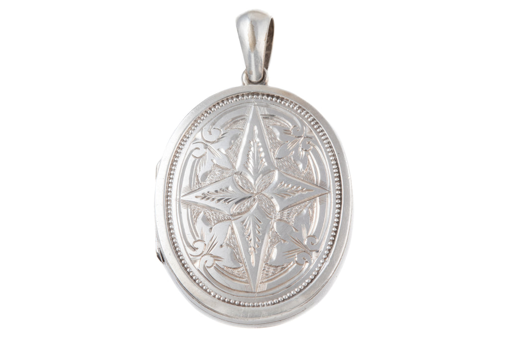 Victorian Silver Oval Engraved Locket