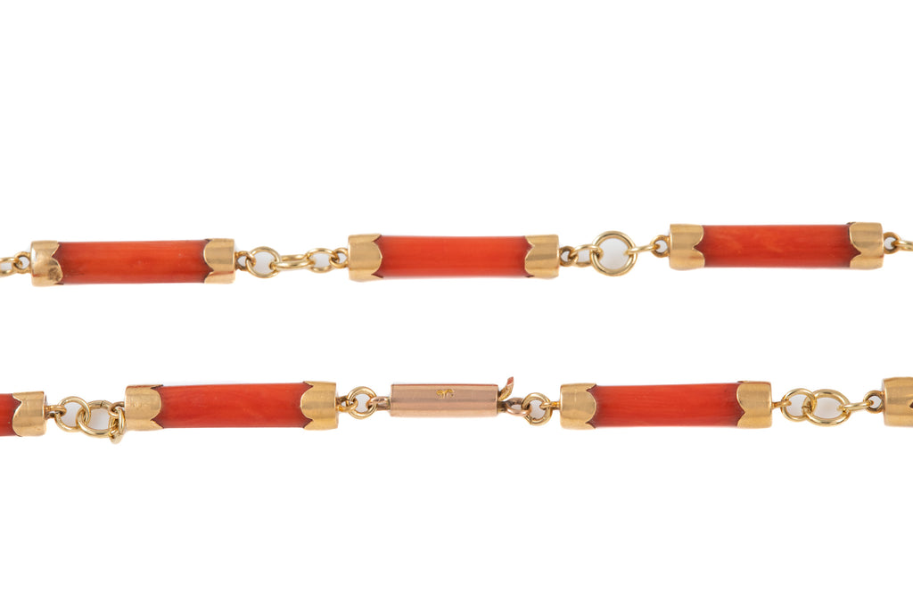 Antique Gold Coral Necklace, 18 & 1/2""