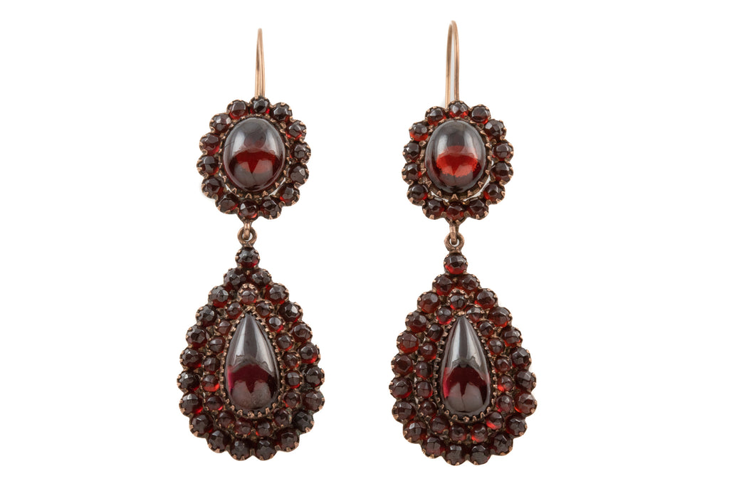 Georgian Bohemian Garnet Drop Earrings (21.16ct), with 9ct Gold Hooks
