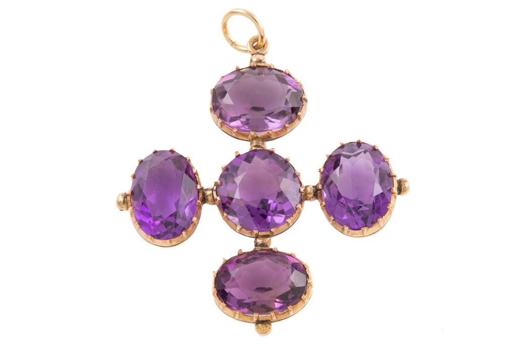 Antique Gold Amethyst Cross Pendant, (22.30ct)