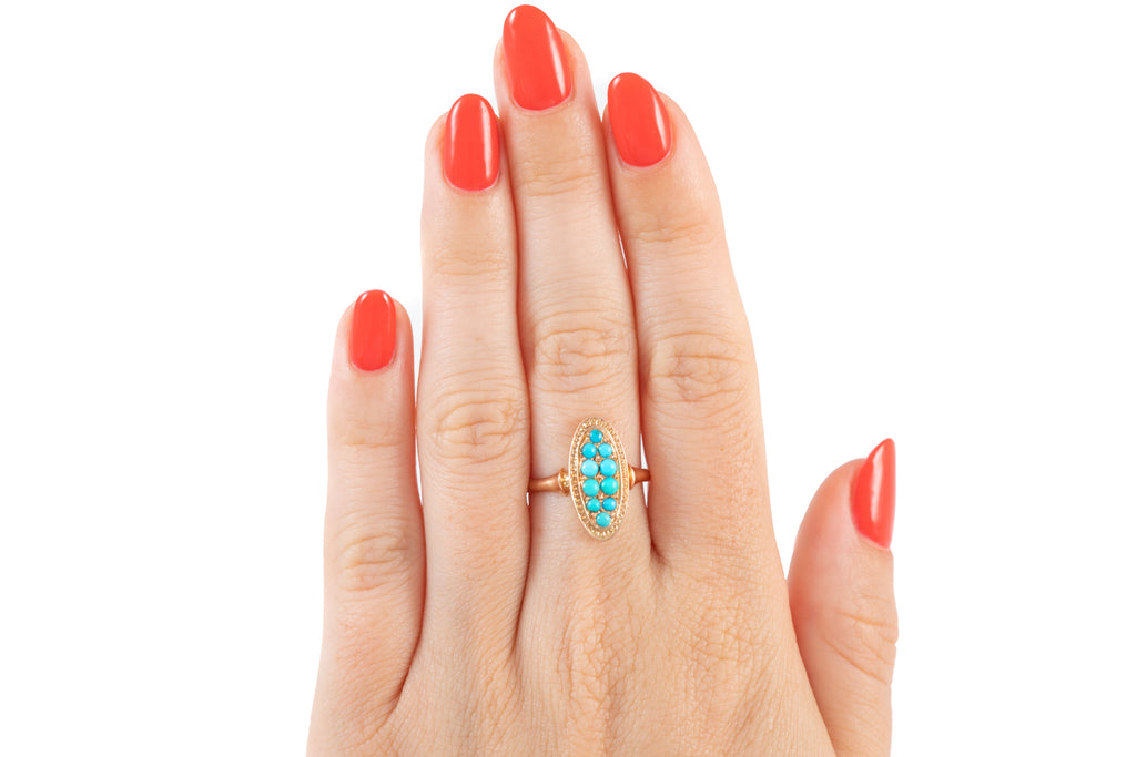 Antique French 18ct Gold Turquoise Ring