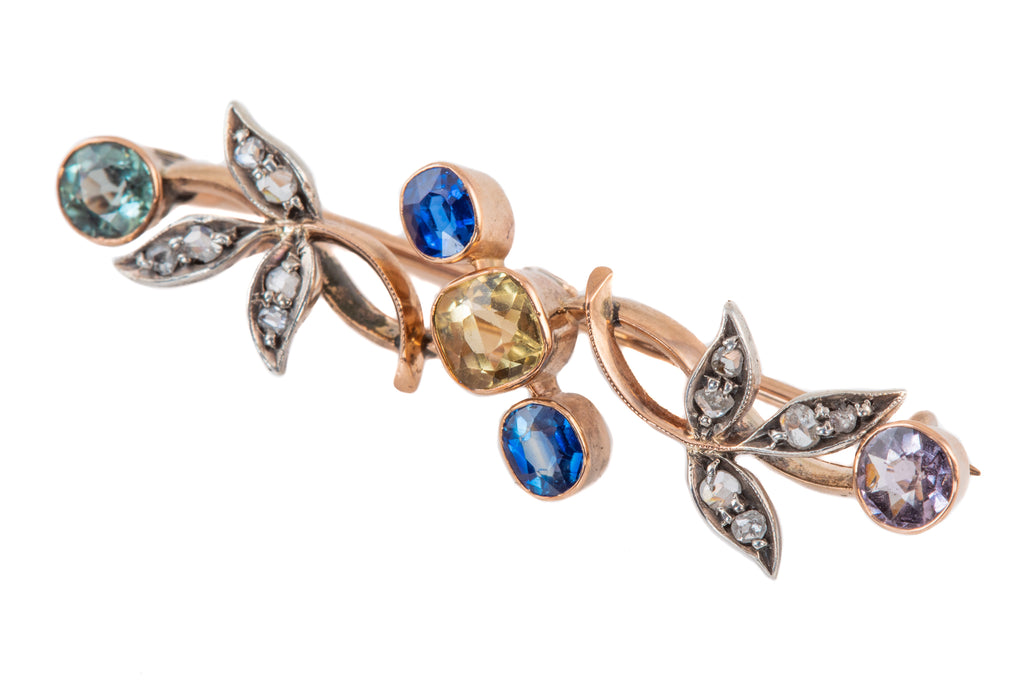 Edwardian Gold Multi-Stone Brooch, with Aquamarine, Diamond, Sapphire, Tourmaline, Amethyst