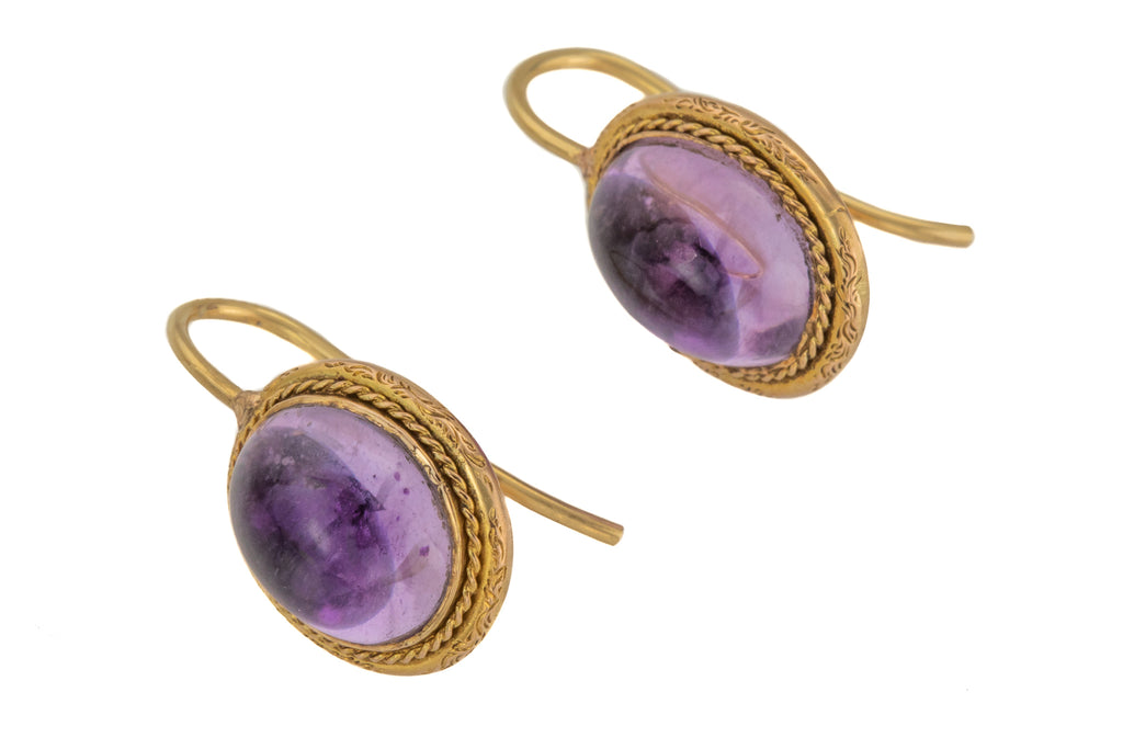 Victorian 14ct Gold Amethyst Earrings, (9.60ct)