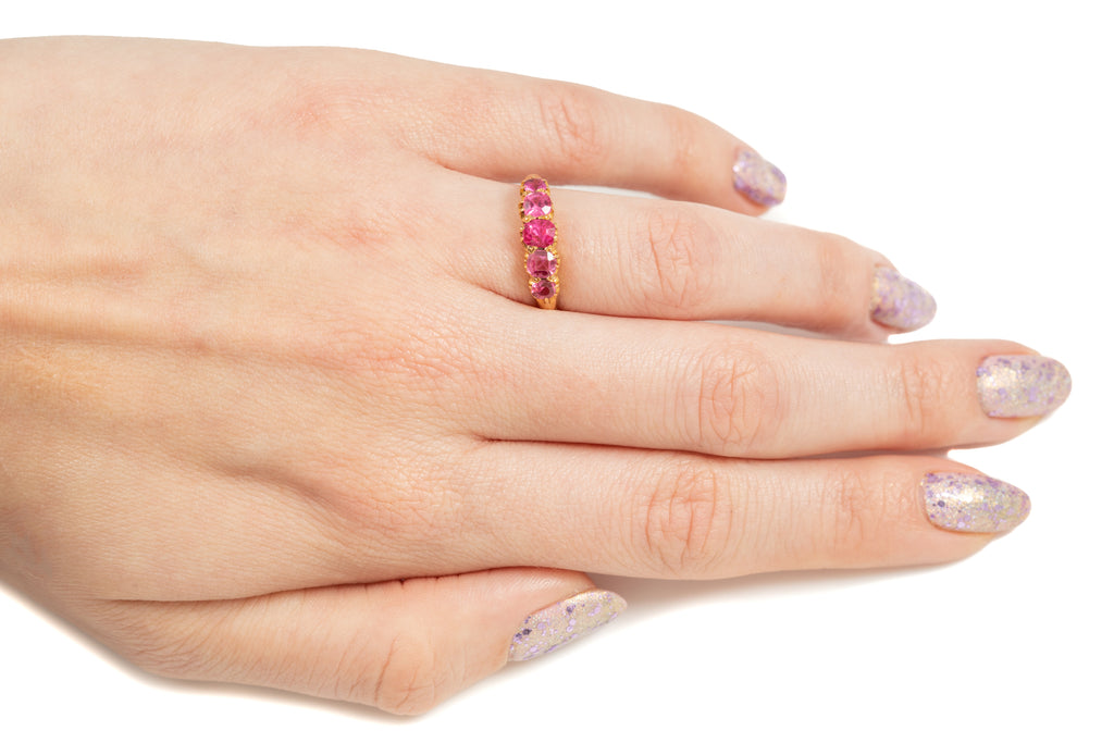 Victorian 18ct Gold Pink Spinel Five Stone Ring, (1.00ct)