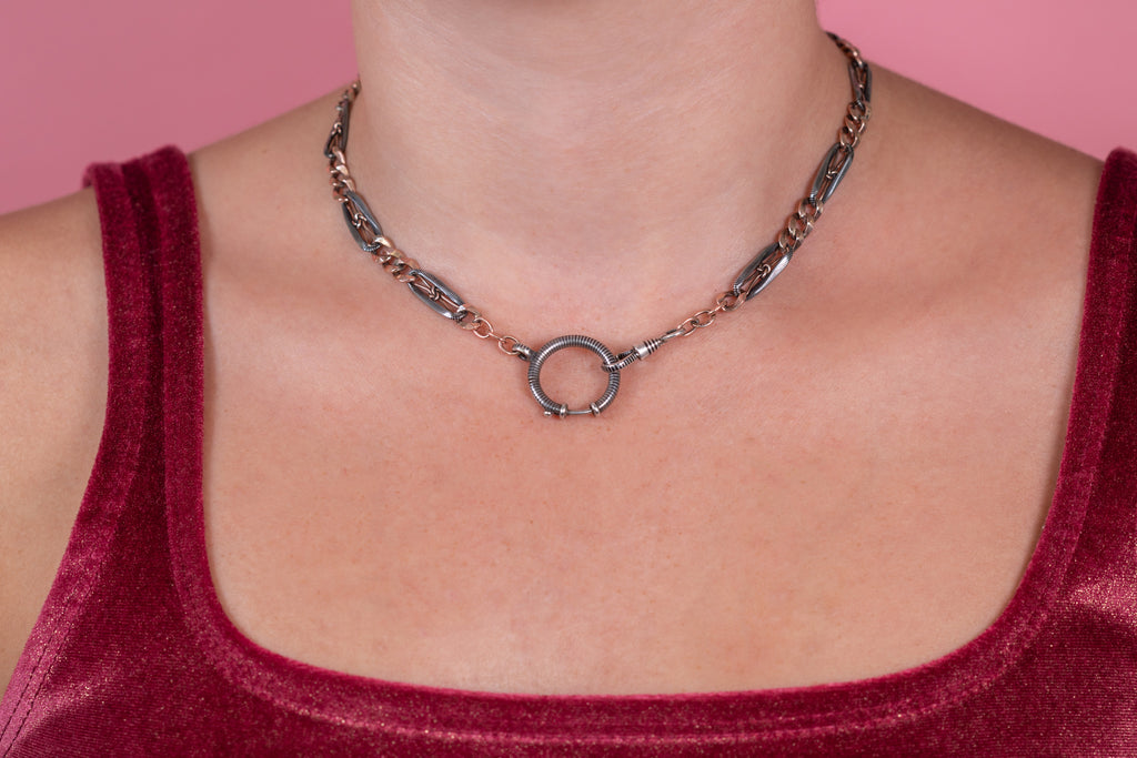 "Antique Silver Niello Chain with Large Bolt Ring, 15 & 7/8"" (21.2g)"