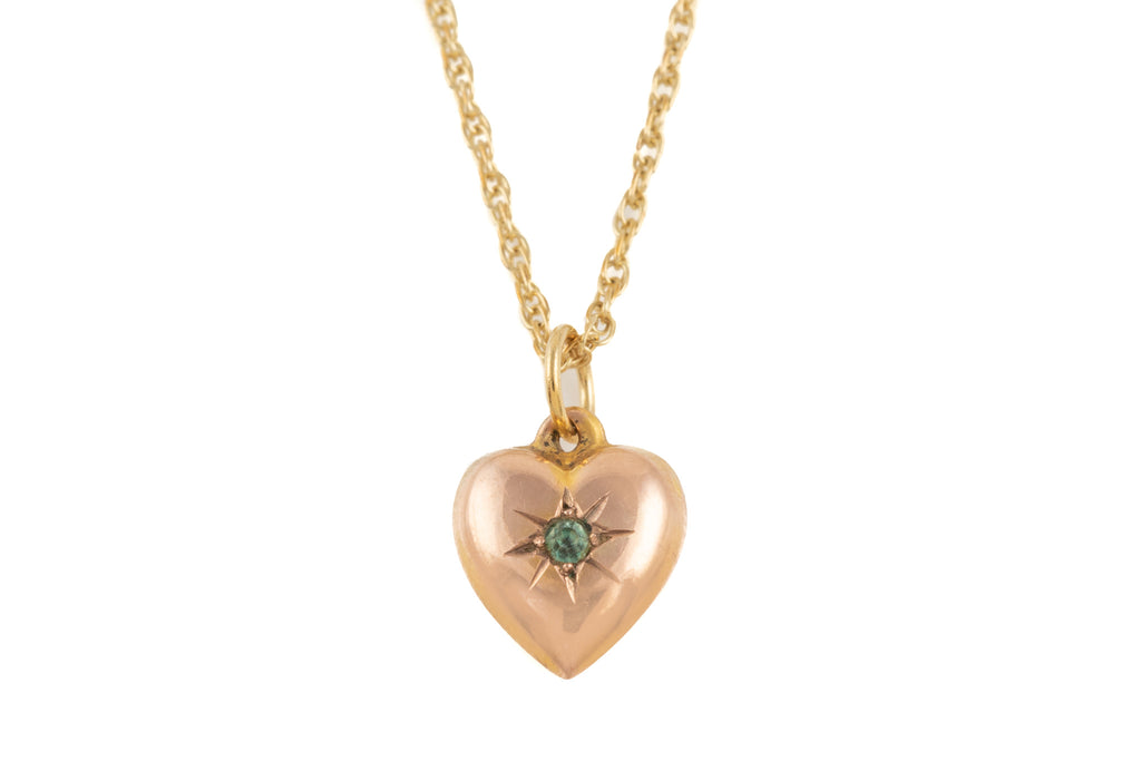 "Victorian Gold Zircon Heart Charm, with 18"" Chain"