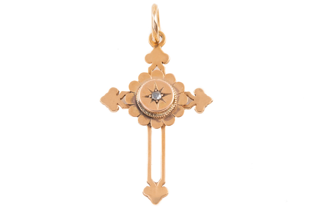 Victorian Gold Diamond Cross Pendant, (0.02ct)