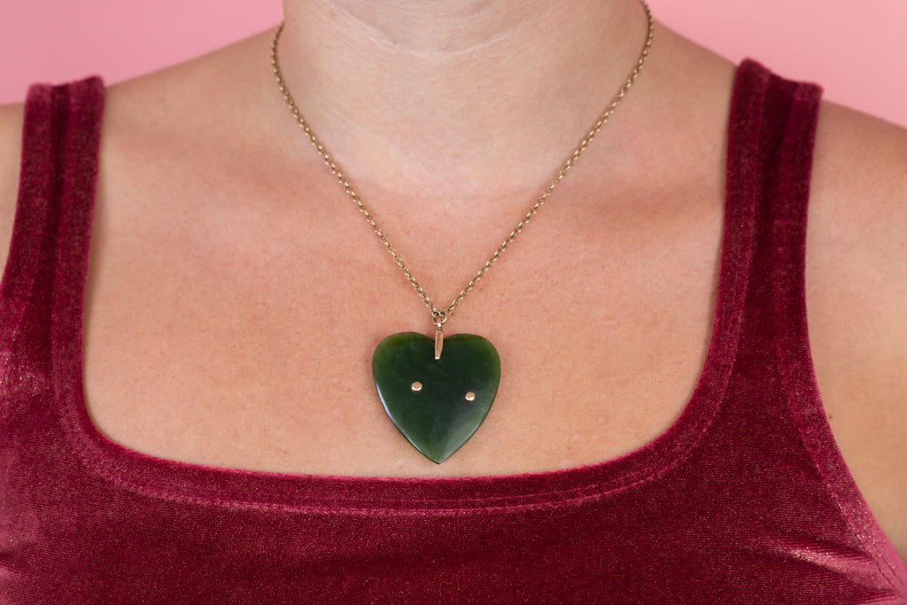 Antique Gold Jade Heart Pendant