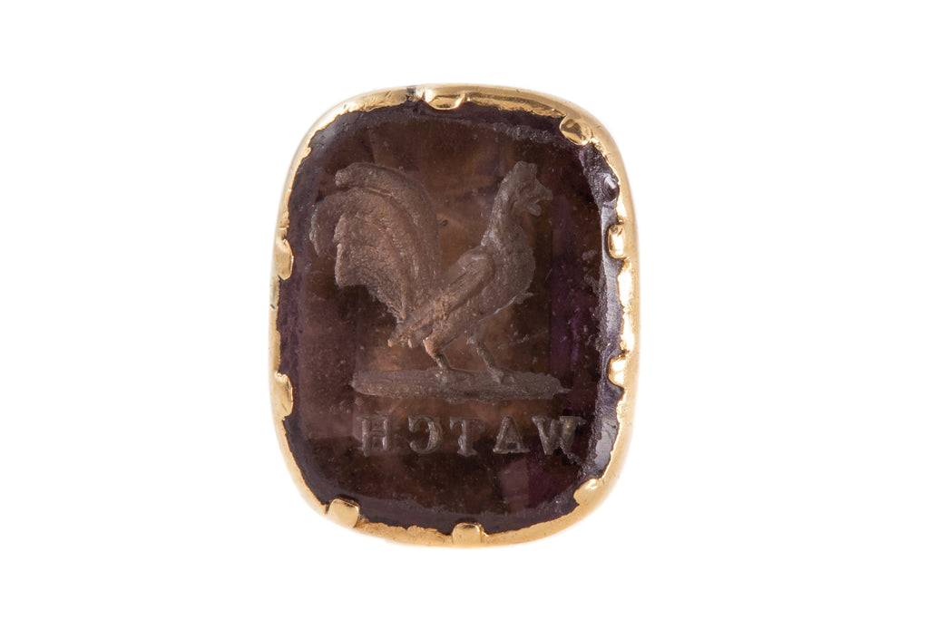 "Early Victorian Gold Cased Paste Cockerel Fob, ""WATCH"" Intaglio"