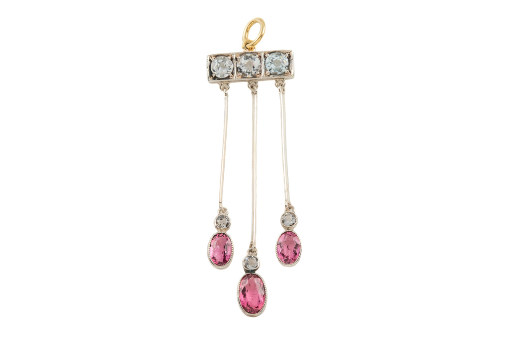 Antique Silver Aquamarine Pink Tourmaline Drop Pendant