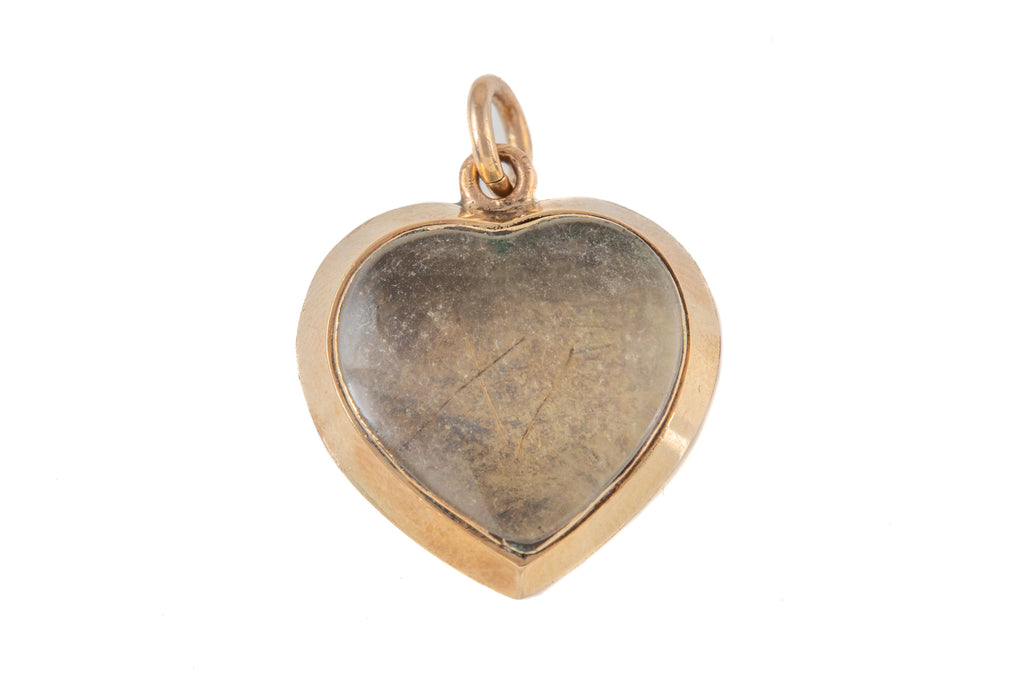 Early Victorian Gold Heart Charm, with Locket Back